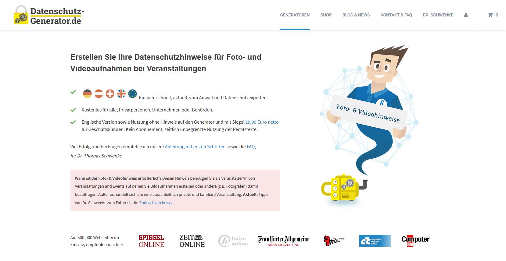 Datenschutzgenerator Dr. Schwenke - Foto: Screenshot datenschutz-generator.de
